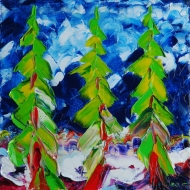 Christmas trees. Oil on canvas, 120x120, 1995.