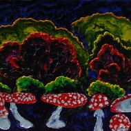 Toadstools. (Triptych - Bar forest, middle panel). Oil on canvas, 70-90, 2006. (Expressive sublimatizm)