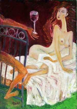 .IN BED 2013year oil on canvas 50x70 cm4000$