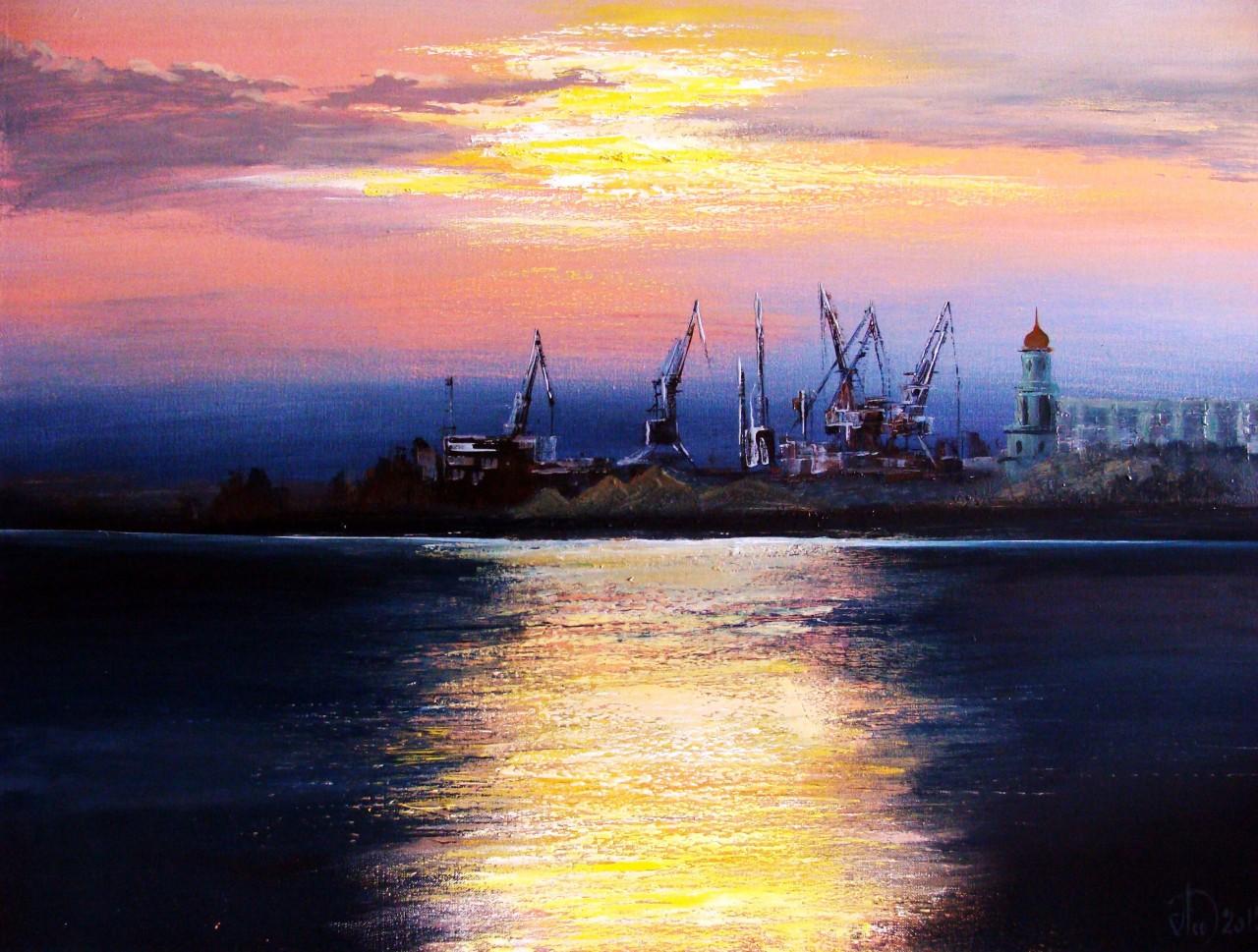 Вечерний порт   Живопись   Автор ...: dotart.info/ru/art/work=629
